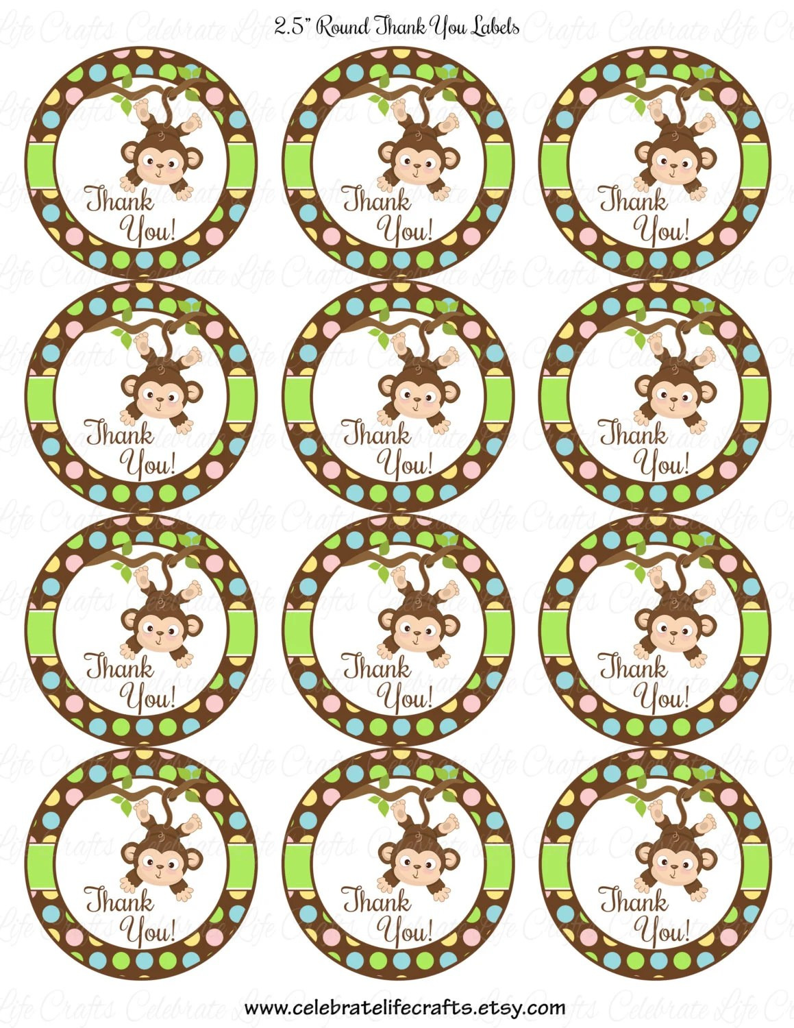 Baby Shower Printable 2 5 Inch Round Labels Favor Tags