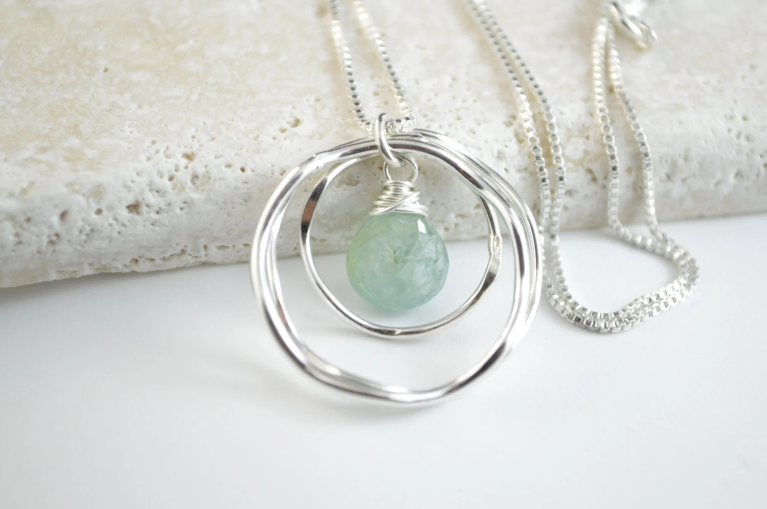 30th Birthday Gift For Her,Aquamarine Necklace, March