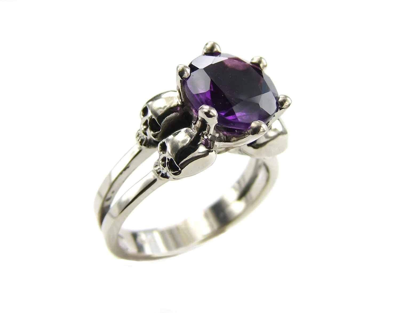 White Gold Skull Ring Goth Engagement Ring Amethyst