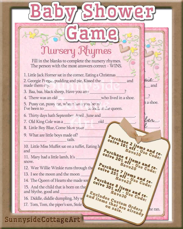 Nursery Rhyme Baby Shower Game Printable By