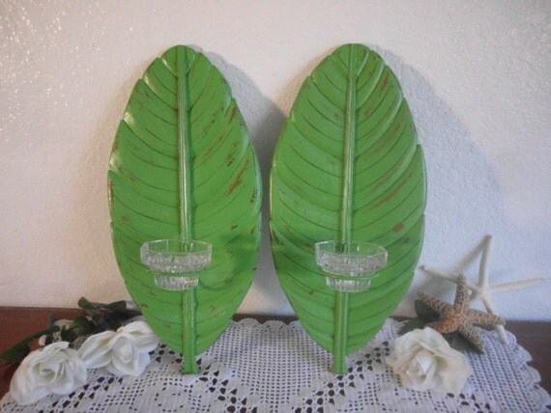 Green Tropical Island Palm Tree Banana Leaf By ElegantSeashore