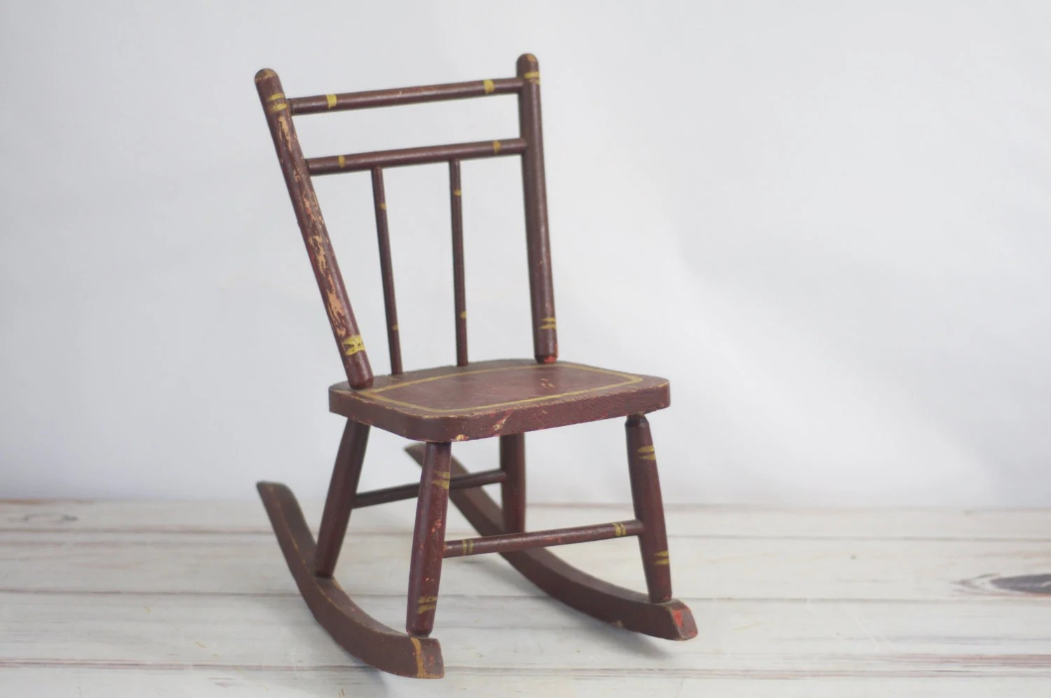Chair vintage childs rocking chair antique rustic wooden for Child s first chair