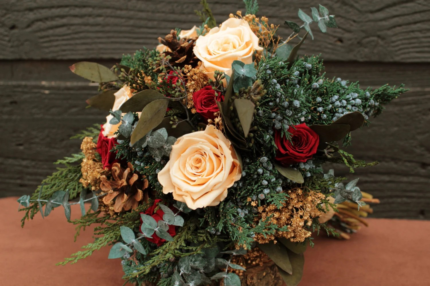 Rustic Winter Champagne And Burgundy Wedding Bouquet Winter