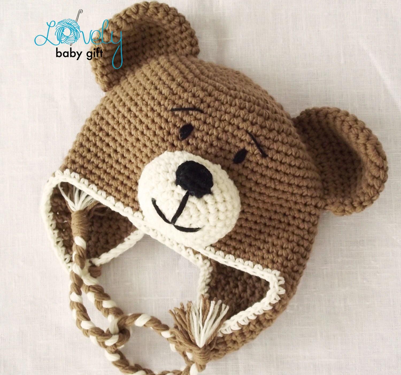 Earflap Teddy Bear Hat Crochet Pattern Toddler Hat Baby