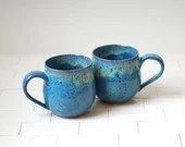 Set of 2 Ceramic Mugs - Ceramic Cups - Handmade Stoneware Teacups or Coffee Mugs - Blue Pottery - Blue Kiss Glaze