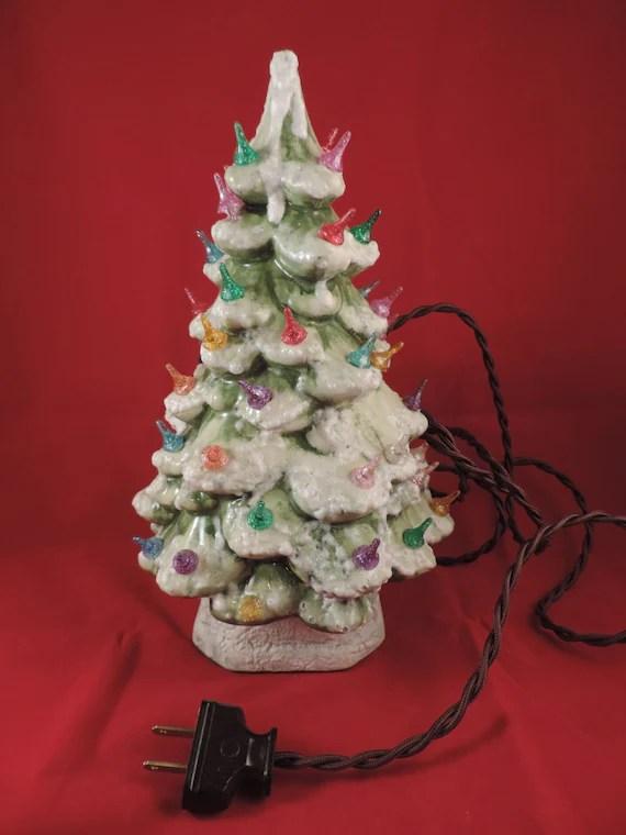Antique 1940s Ceramic Christmas Tree 11 Flocked