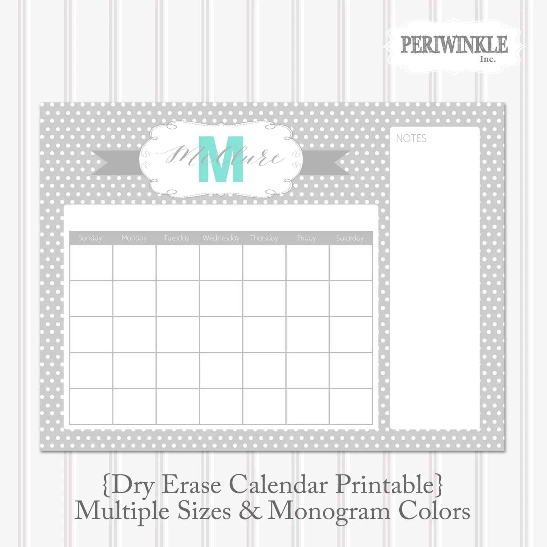 Dry Erase Calendar Printable Cutomizable Mulitple Sizes