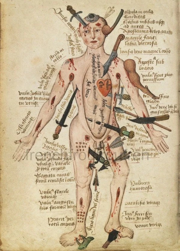 antique early anatomical print human body injuries