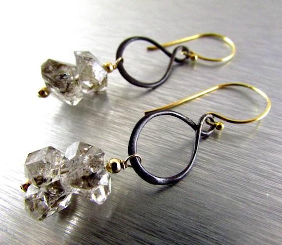Herkimer Diamond Earrings, Mixed Metal Rough Gemstone Earrings, Quartz Crystal Earrings by SurfAndSand
