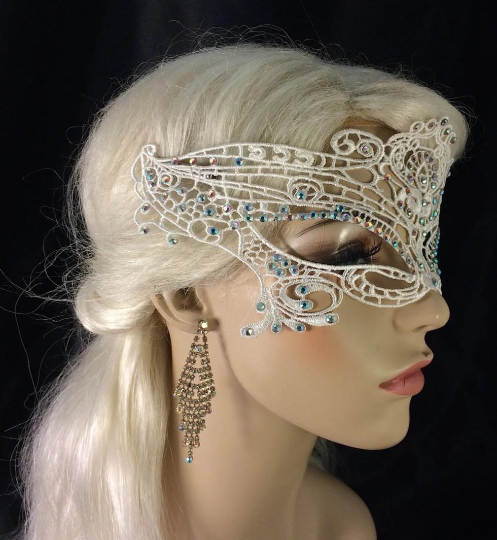 Swarovski Crystal Rhinestone Off White Lace Mask, Masquerade Ball, Eyes Wide Shut, Fetish Mask, Black or White, Speakeasy