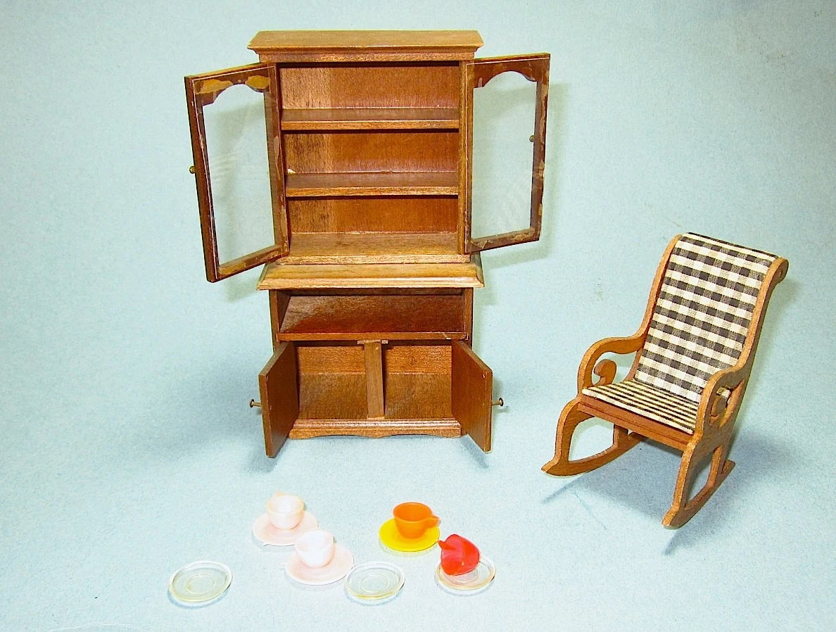 Shackman Doll House Furniture American Colonial Antique Wooden Highboy Chest Rocking Chair Cups