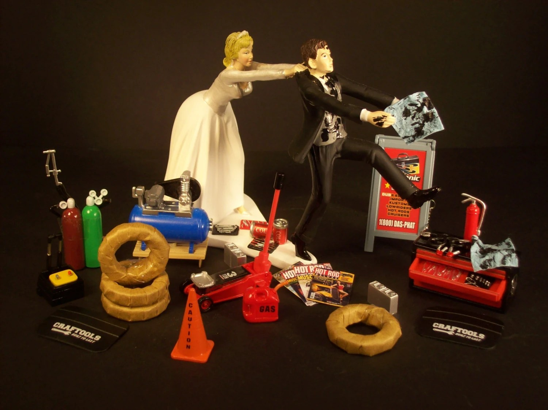 NEW AUTO MECHANIC Bride And Groom Wedding Cake Topper Tools