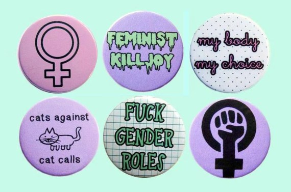riot grrrl feminist button badge