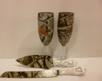 Rustic Wedding Camo Wedding Cake Knife And Serving Set In Snow