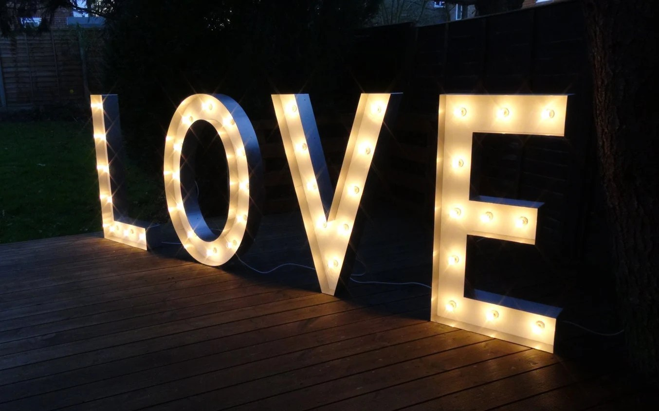 HIRE LOVE Light Up Letters In Large/Small Sizes. Free Standing