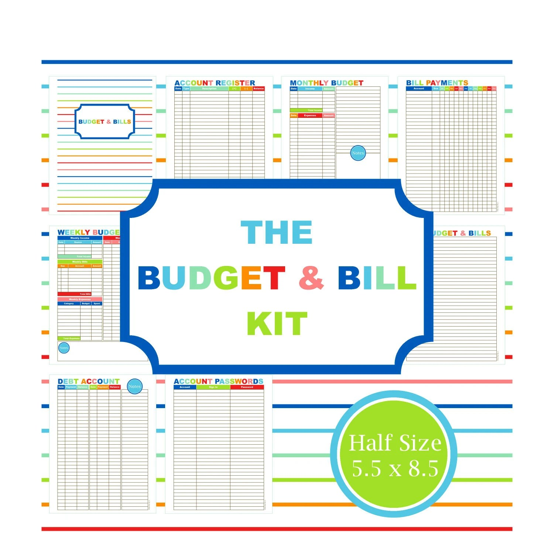 The Budget Amp Bill Kit Budget Planner Printable Budget Bill