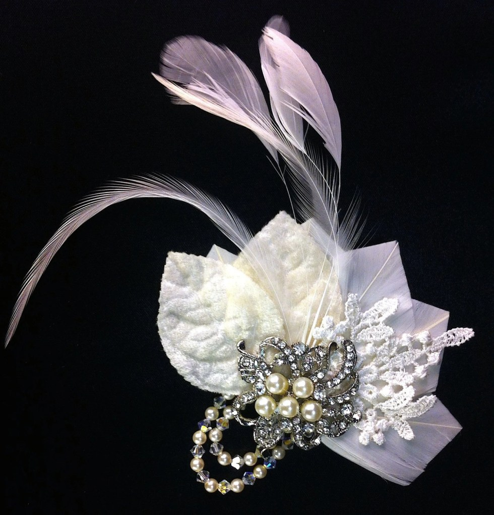 The Perfect Little Bridal Fascinator, Bridal Headpiece,  Bridal Hair Clip, Swarovski Crystals and Pearls, Great Gatsby, Ivory Hair Clip