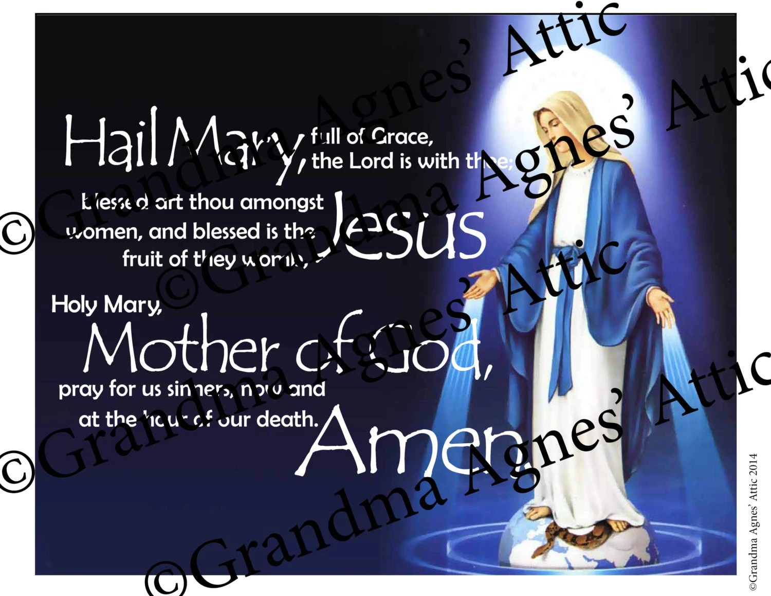 Hail Mary 8x10 Downloadable Prayer Picture 100 Profit