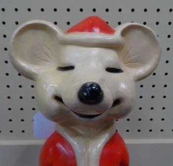 Christmas Santa Mouse 1960s Molded Plastic Light Up Mid