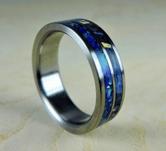 Titanium Wedding Ring Blue Wood And Stone Wood Ring