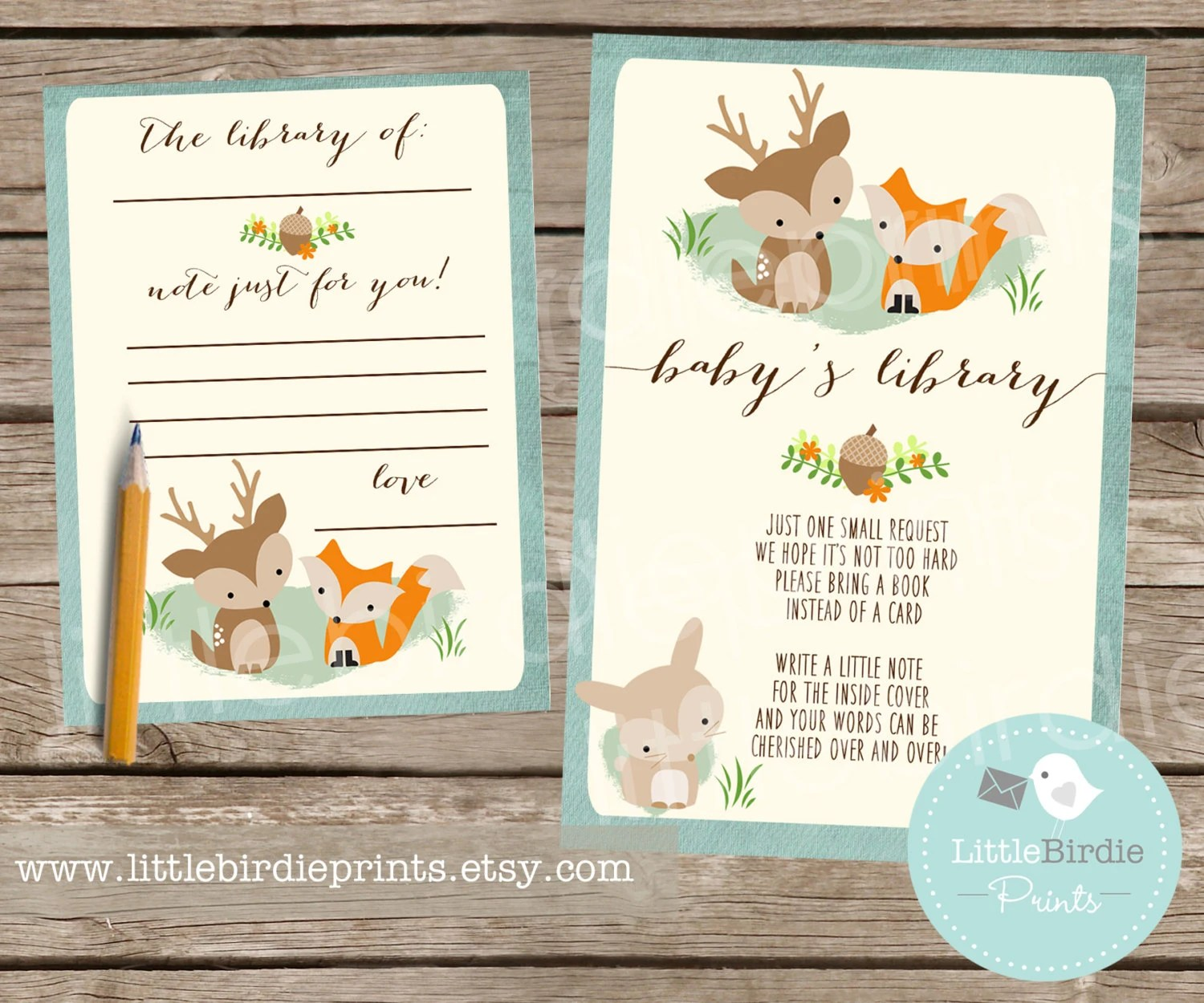 Woodland Baby Shower Book Instead Of A Card Inserts With
