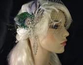 Wedding Head Piece, Bridal Feather Fascinator,  Feather Fascinator, Ivory Fascinator, Peacock Feather Brooch, Wedding Veil, Bridal Headpiece