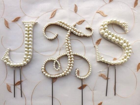 Ivory Pearl Wedding Cake Topper Monogram