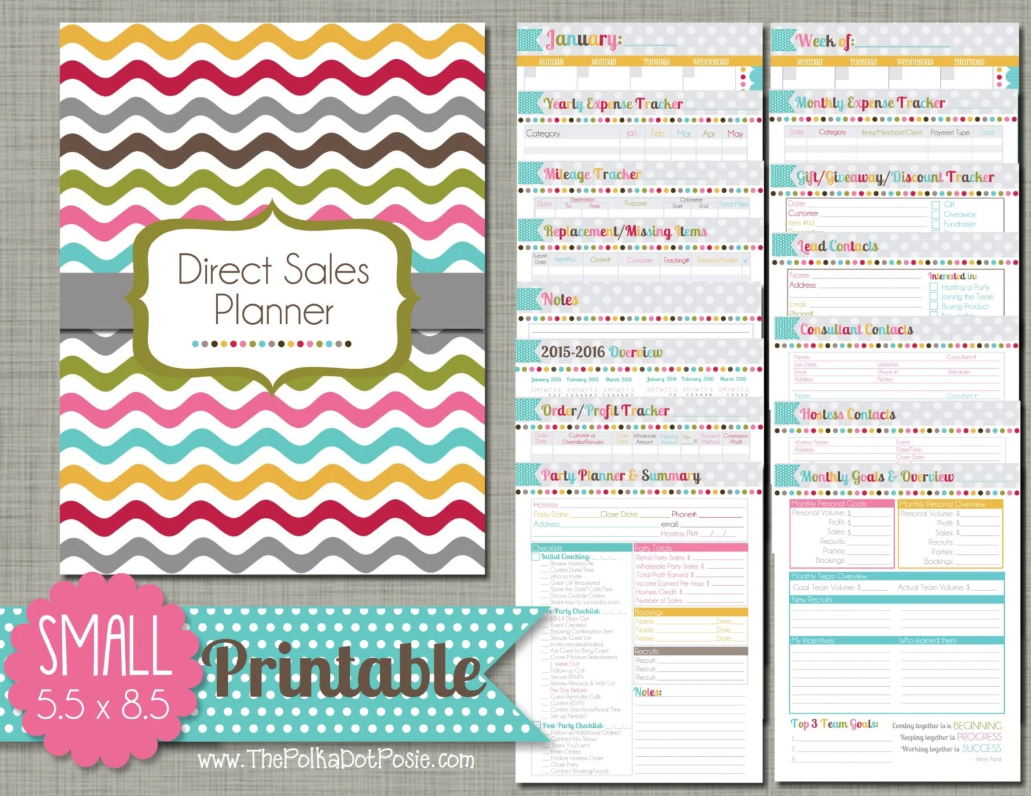 Direct Sales Planner Printable Set Sized Small 5 5 X