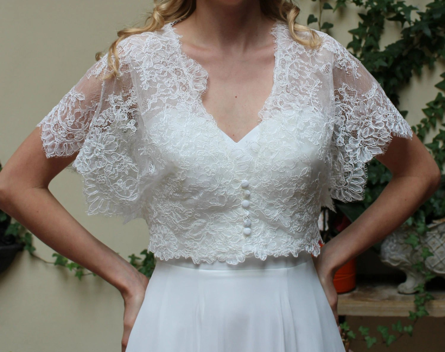Wedding Lace Bolero Jacket Bridal Short Sleeve Romantic