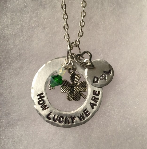 Hand Stamped Four Leaf Clover Charm Necklace