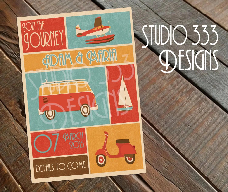 Gypsy BOHO Rustic Retro HIPPIE Printable DIY Wedding Save the Date ...