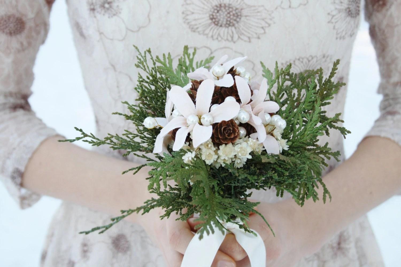 Rustic Bridal Bouquet Winter Wedding Bouquet White Flowers