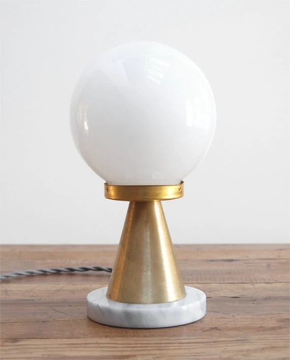 "Mod White Marble Polished Brass & Hand-Blown Glass Globe Table Lamp - Mid Century Modern meets Postmodern Italian Design - the ""Memphis"""