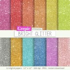 "Glitter digital paper: ""BRIGHT GLITTER"" with rainbow, gold and silver glitter digital papers, colorful sparkles, sparkling, backgrounds"