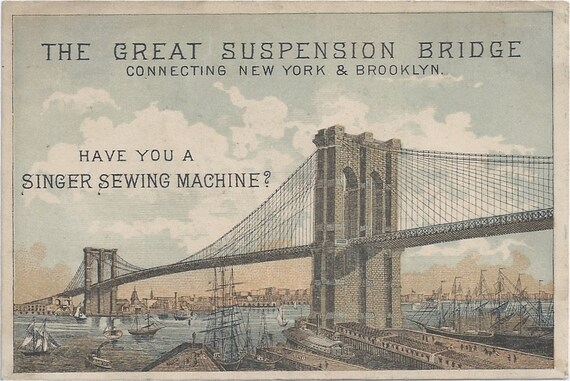 2 SINGER Sewing Machine Brooklyn Bridge 1800s Victorian Ad