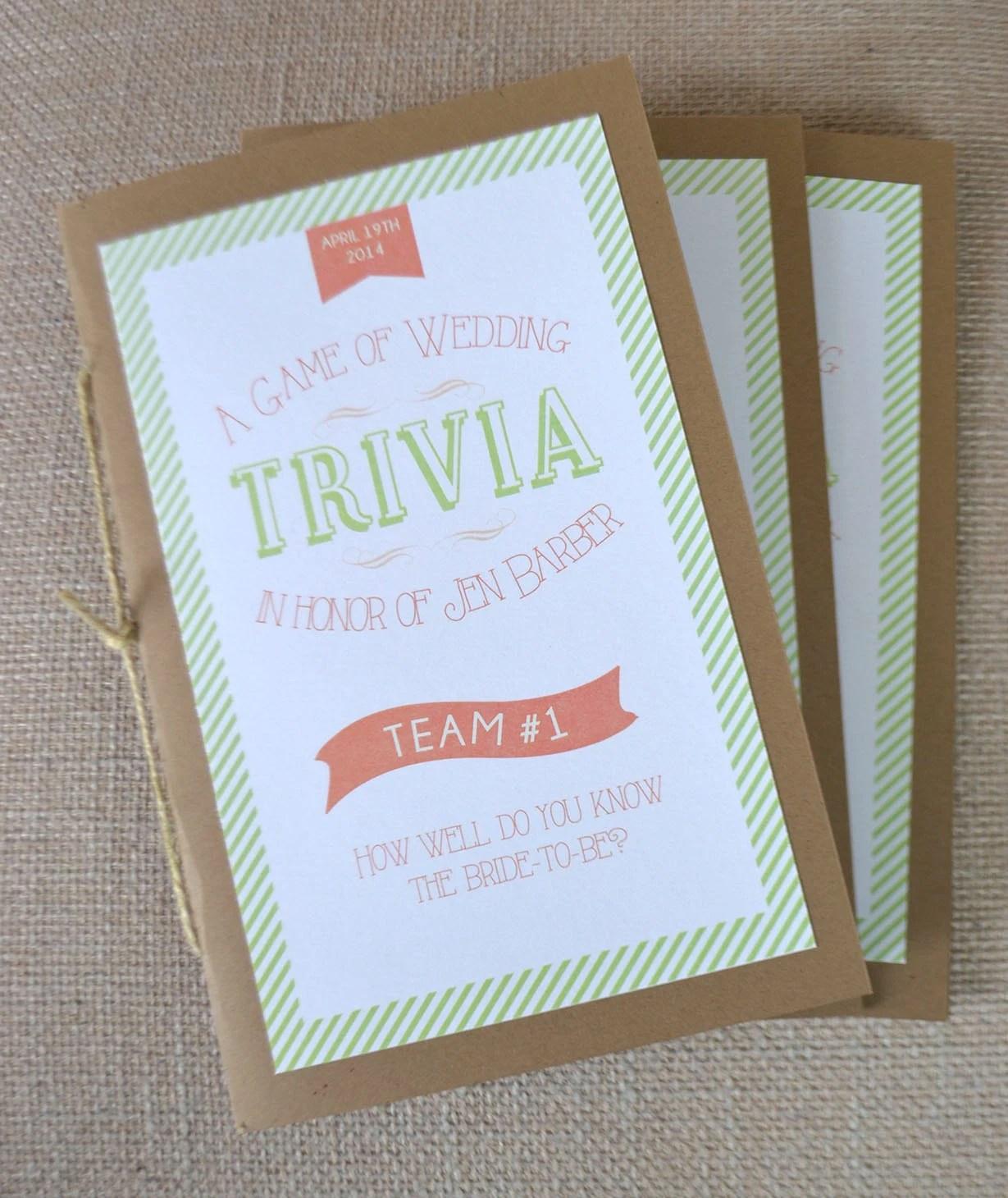 Bridal Shower Game Trivia Book Diy Printable Shower Game