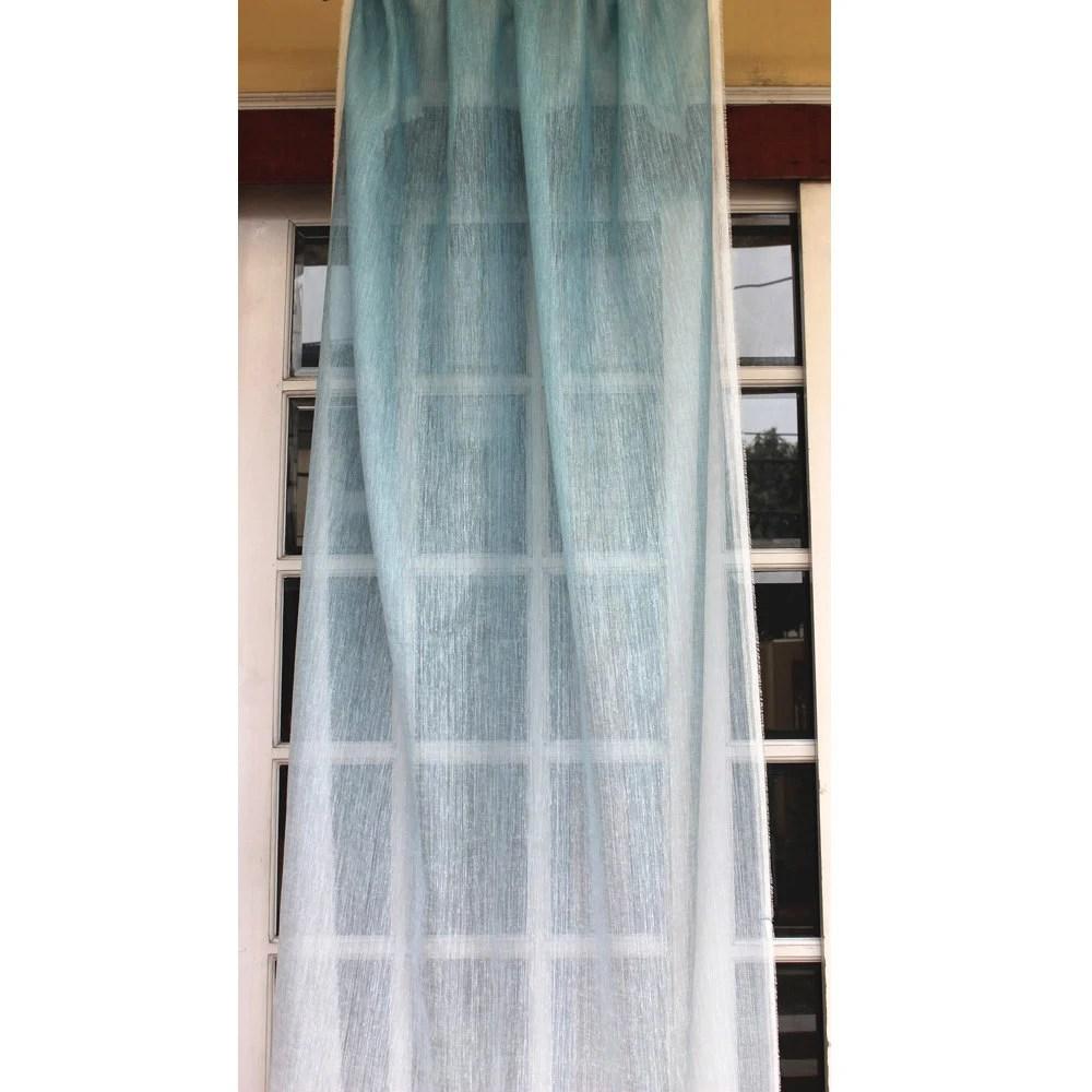 Ombre Curtain Light Blue 26x84 Sheer Rod Pocket