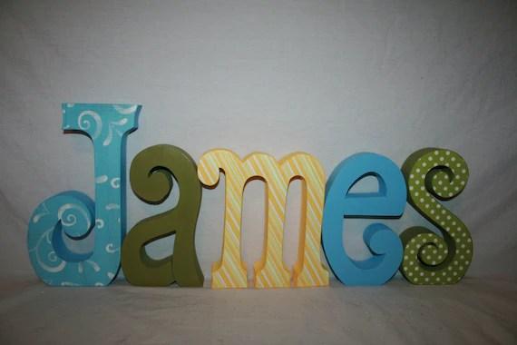 Custom Nursery Letters Boy Wood Name Letters 5 Letter Set