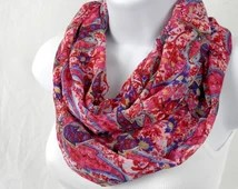 Womens Infinity Scarf Hot Pink Paisley Chiffon Double Loop Fashion Scarf Handmade by Thimbledoodle