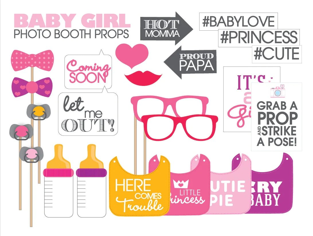 Baby Shower Props Printable Girl Instant Download