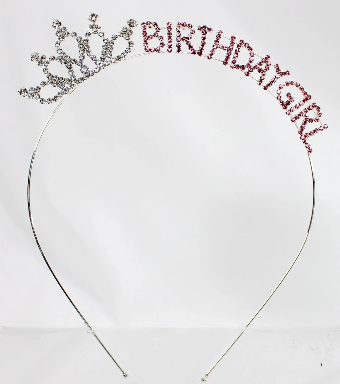 Birthday Girl Adult Pink Crystal Tiara Headband Princess