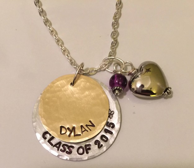 Personalized, hand stamped graduation class of 2015 keepsake necklace.