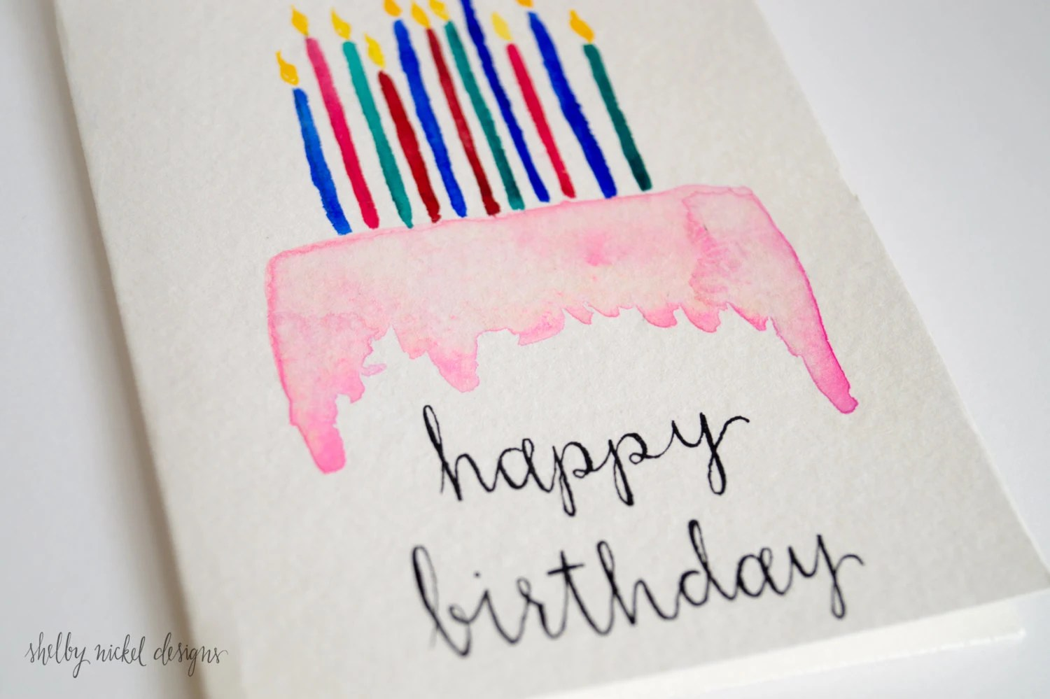 Items Similar To Watercolor Card Happy Birthday Cake