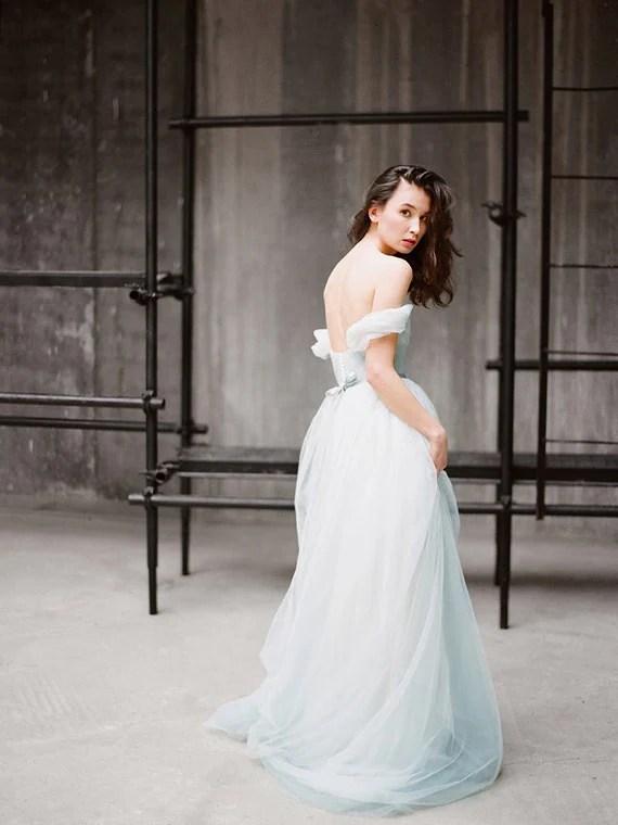 Blue Grey Off The Shoulder Wedding Dress Arsenia By