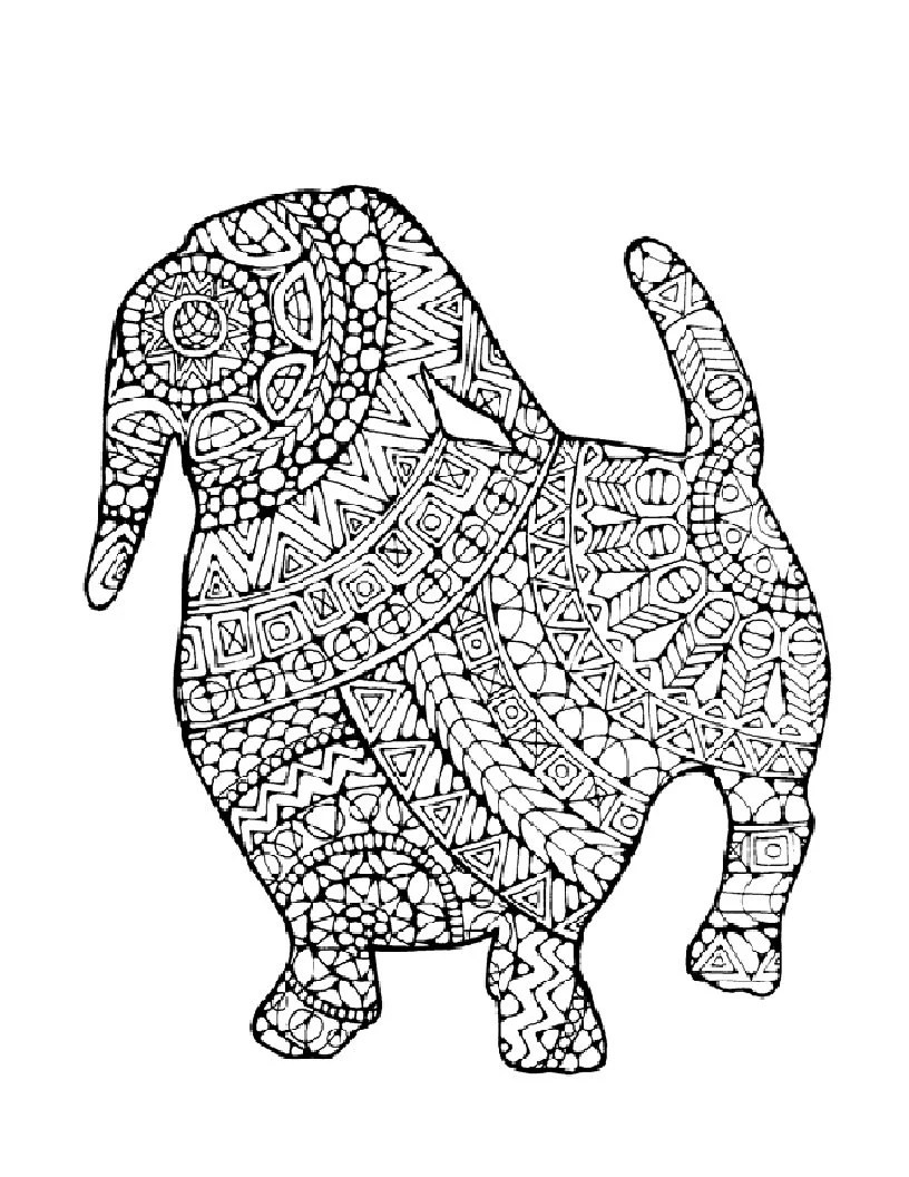 dog coloring page to print and color nature adult coloring page