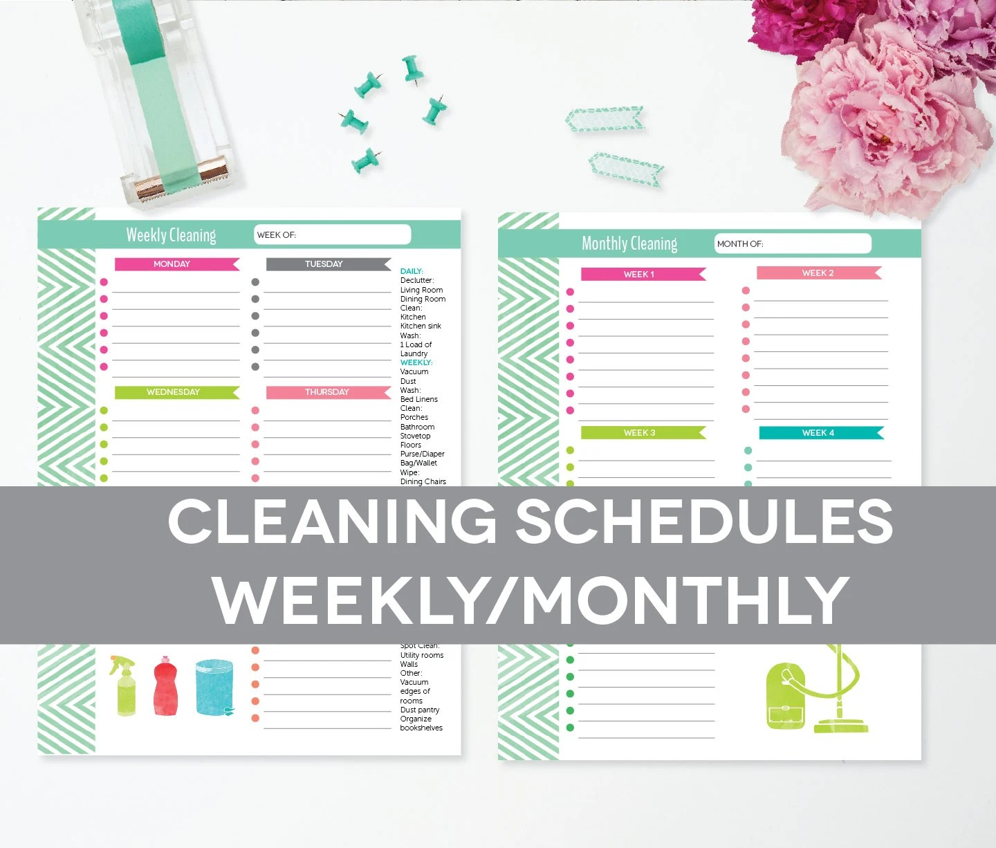 Cleaning Schedule Printable Weekly Monthly By Perennialplanner