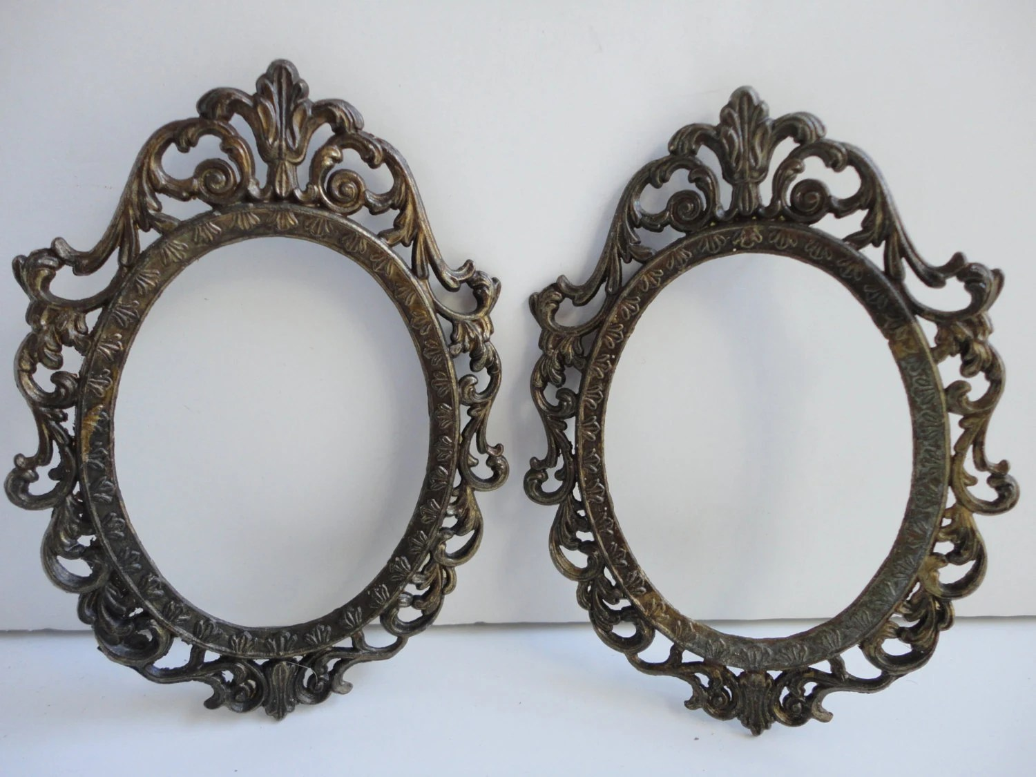 Small Vintage Oval Antique Gold Metal Frame Set Made In
