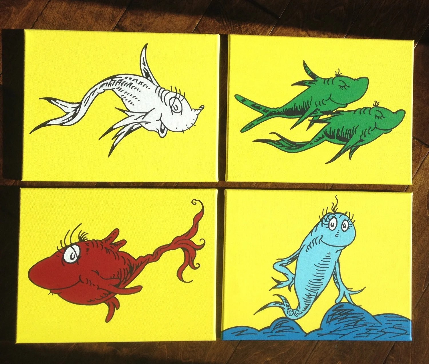 One Fish Two Fish Red Fish Blue Fish On Yellow Inspired By