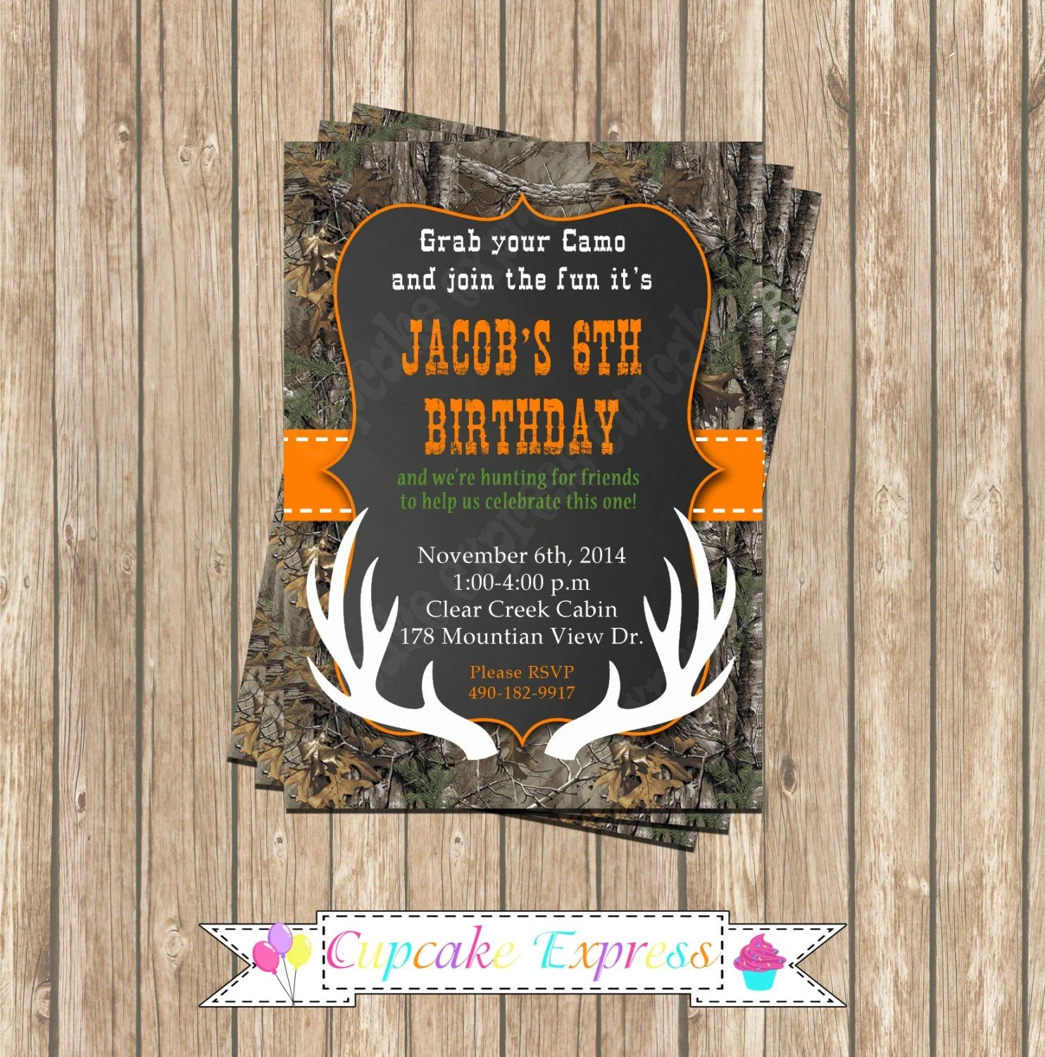 Camo Boy Hunting Deer 4 Birthday Party PRINTABLE Invitation