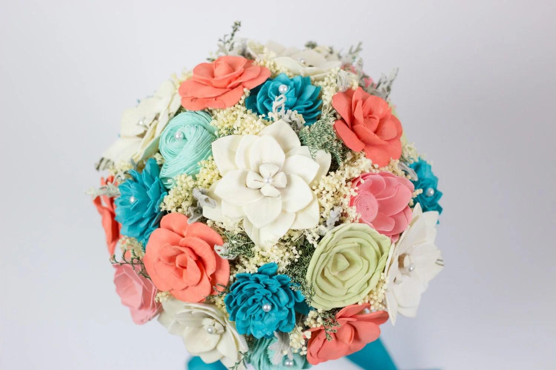 Wedding Bouquet Coral Turquoise Mint Bridal Bouquet Sola
